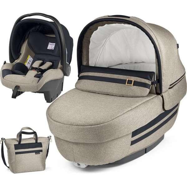 Peg Perego Set Elite Luxe Ecru (kulbiņa, autokrēsliņš, soma)