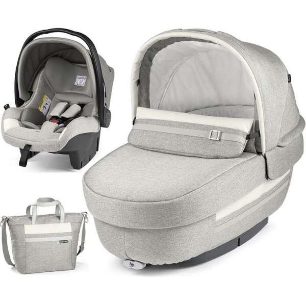 Peg Perego Set Elite Luxe Pure (kulbiņa, autokrēsliņš, soma)